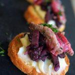Drunken Porcini Crostini with Sliced Steak & Taleggio